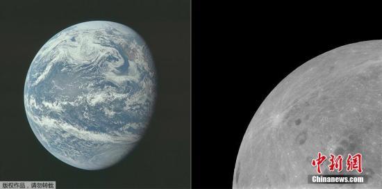 左圖為1969年7月16日,阿波羅11號執行任務中,10000海里以外拍攝的地球景象;右圖為1969年7月21日,阿波羅11號執行任務時拍攝的月球表面圖像。