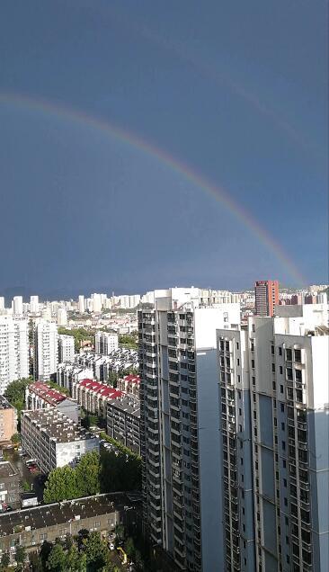 市区降雨结束 雨后泉城出现美丽彩虹